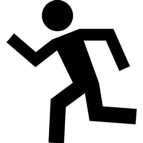 hombre corriendo en silueta iconos gratis de deportes