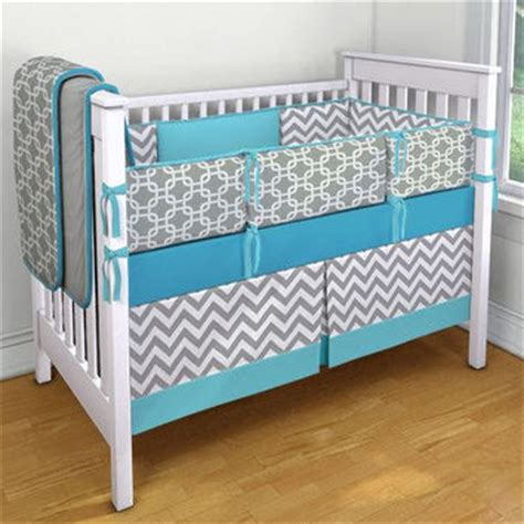 Blue Chevron Crib Bedding Blue Gray And White Chevron And Geometric From Nurseryrhymedesign