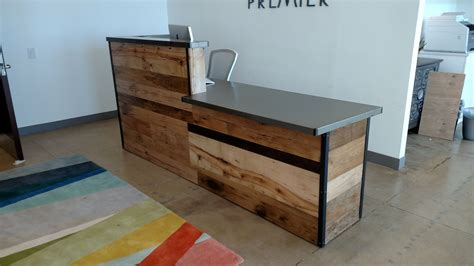 front reception desks handmade reclaimed wood steel reception desk by re dwell