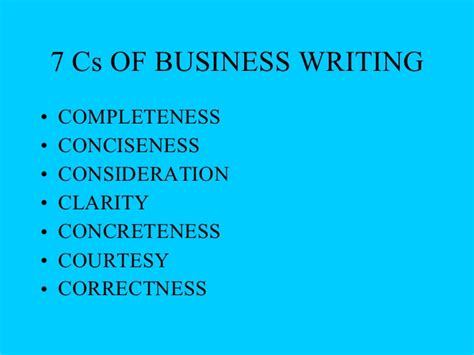 Business Communication Letter Writing Ppt 7 cs ppt with excercises