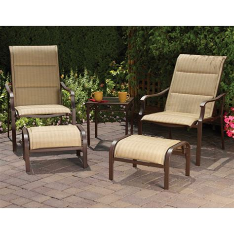 patio furniture at walmart mainstays padded sling 5 outdoor leisure set dune seats 2 walmart