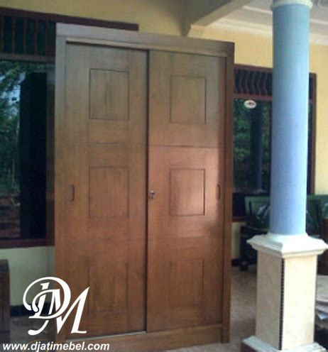 Lemari Pakaian Jati Mawar Kalung Nakas Bufet Kamar Set Dipan Sofa lemari pakaian sliding 2 pintu kotak jati djati mebel jepara