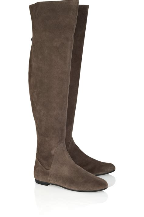 giuseppe zanotti the knee suede boots in brown taupe