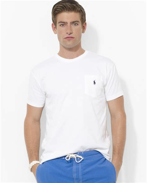 White Zipper Pocket Shirt 2 ralph polo classic fit sleeved cotton pocket in white for lyst