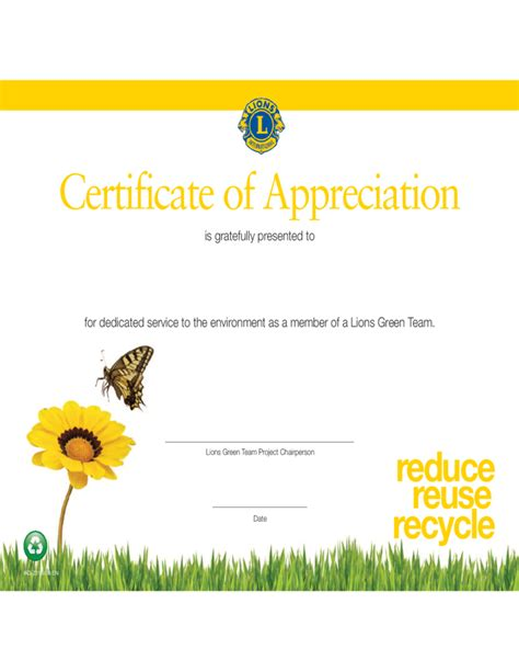 creative certificate of appreciation template free download