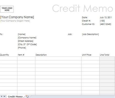 template credit note excel credit memo exle template credit memo form