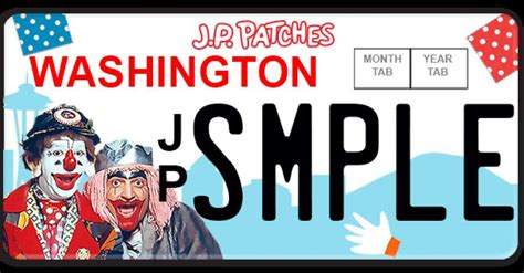 j p patches figure patches pals fundraise for j p patches license plate