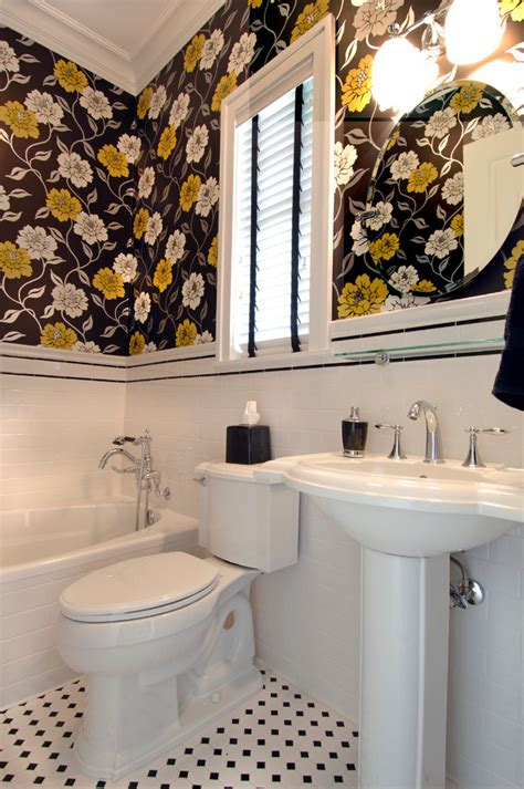 bathroom wall stencil ideas bathroom eclectic with yellow