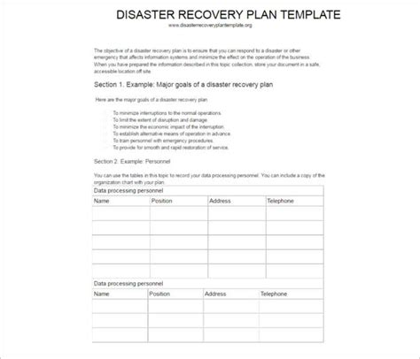 disaster recovery plan templates free excel pdf format