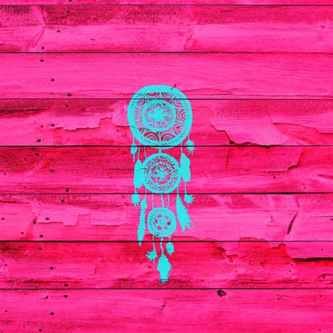 pink pattern girly hipster teal dreamcatcher girly pink fuchsia wood art print
