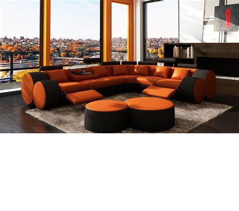 sectional sofa ottoman dreamfurniture 3087 modern orange and black