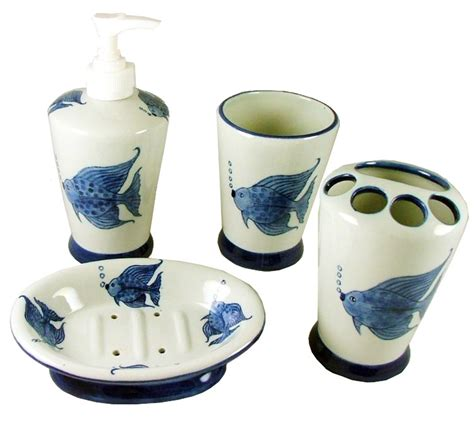 Fish Bathroom Accessories Tropical Fish Vanity Bathroom Accessory Set Soap Dish Tumbler Toothbrush Ebay