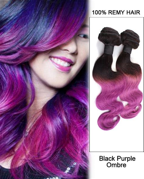 purple remy hair extensions 14 black purple ombre hair two tones hair weave wave