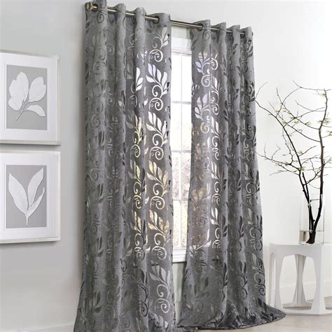 gray curtain panels amelia dark gray burnout grommet curtain panels