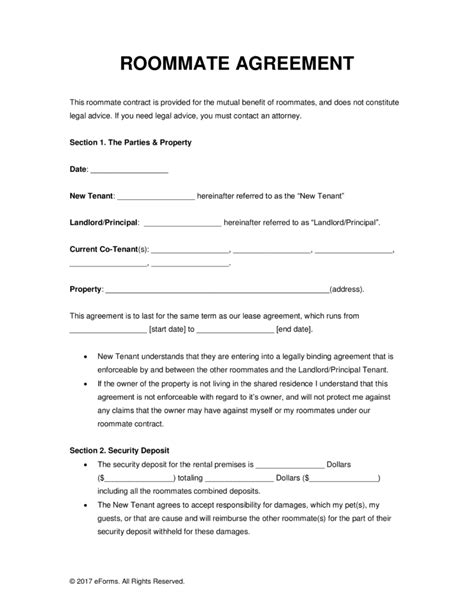 Room Rental Lease Agreement Template | charlotte clergy