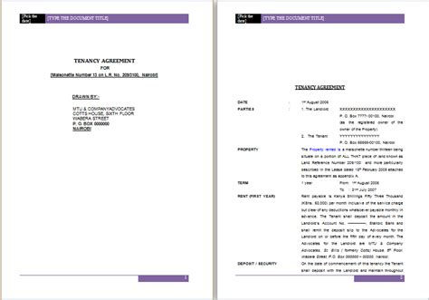 templates for word document official tenancy agreement template ms word word