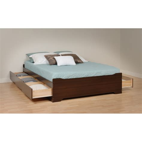 Bed Platform With Drawers Prepac Espresso Coal Harbor Mate S Platform Storage Bed With 6 Drawers