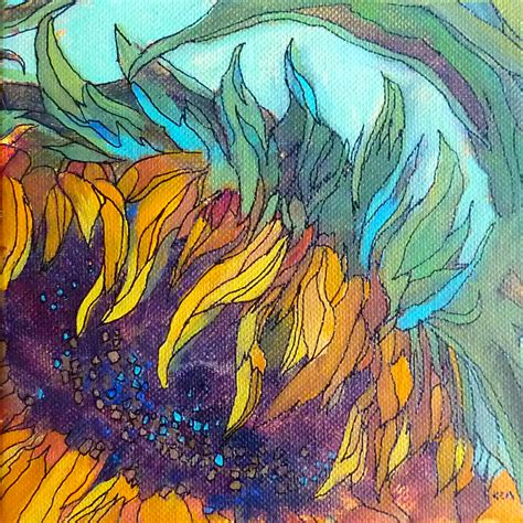 acrylic paint artist painting my world sunflower acrylic painting with ink lines