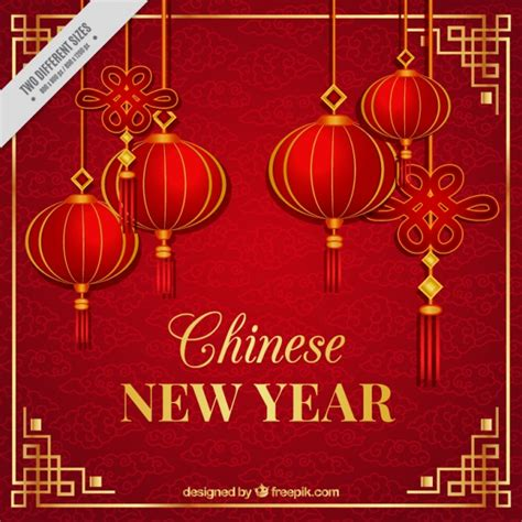 new year image new year background with lanterns vector free