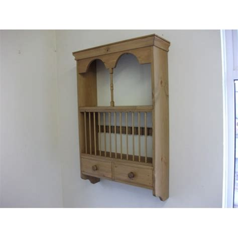 pine plate rack with spice drawers w66cm
