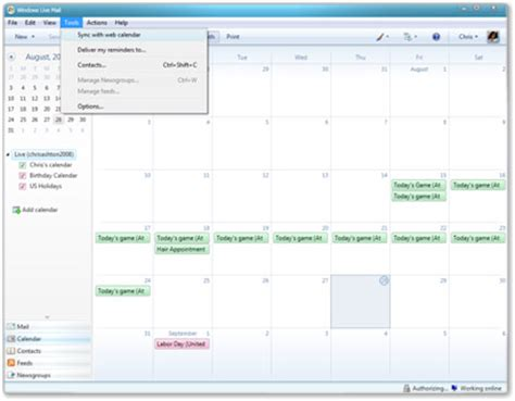 Live Calendar Windows Live Mail Wave 3 Synchronisation Du Calendrier