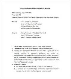 corporate board meeting minutes template corporate meeting minutes templates 12 free sle