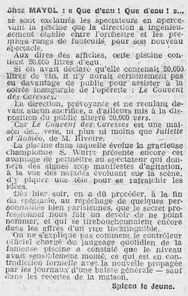 """ECMF (1918-1944) - """"Le Couvent des caresses"""", opérette"""