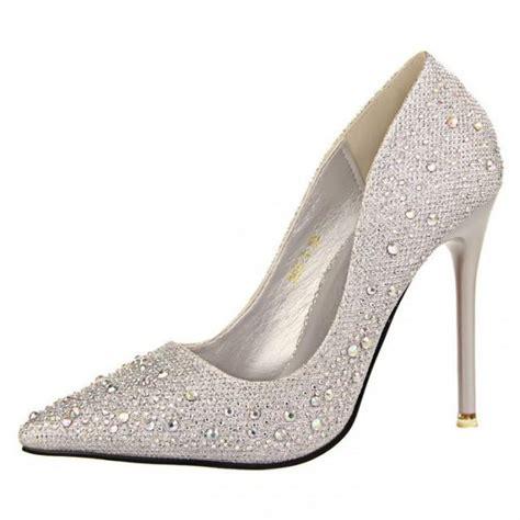 silver rhinestone wedding shoes platform pumps bottom