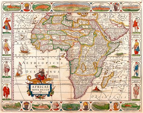 africa map vintage antique map of africa 1652 republican budget