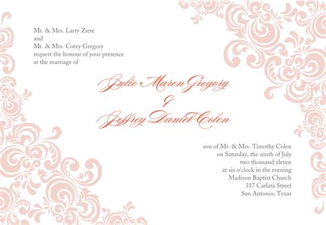 templates for invitations return address for wedding invitations template best