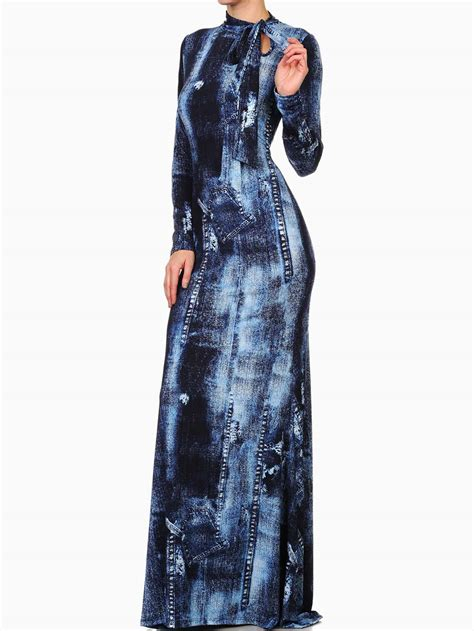 Denima Maxy Dress denim printed knit mermaid style maxi dress modishonline