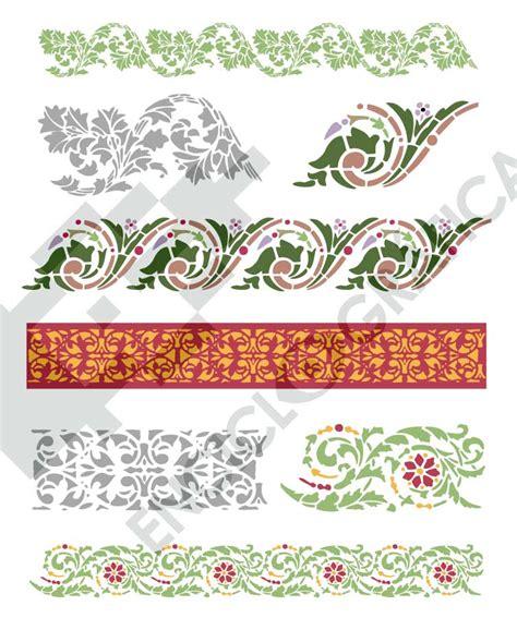 grecas cenefas y motivos cenefas de flores para stencil