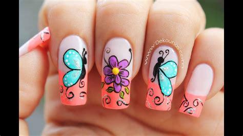 fotos de uñas decoradas con flores y mariposas dibujos para hacer en las uas dibujos para hacer en las