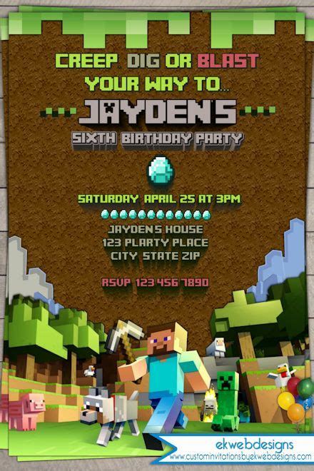 printable invitation minecraft best 25 minecraft birthday invitations ideas on pinterest