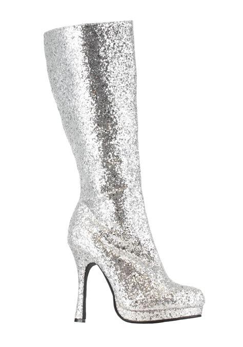 glitter high heel boots silver glitter high heeled boots