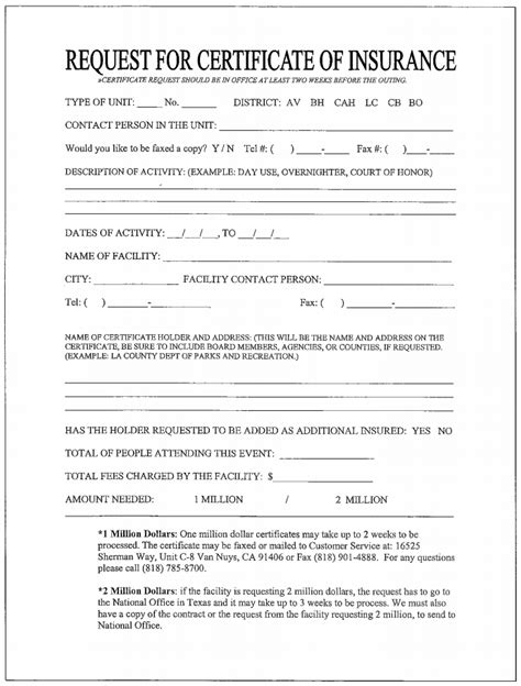 Certificate Of Insurance Letter Request Request For Certificate Of Insurance 171 Crescent Bay District Wlacc Bsa Boy Scouts In West