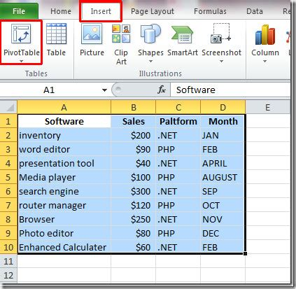 excel 2010 create pivot table chart