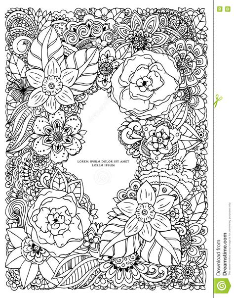 anti stress colouring book doodle and vector illustration floral frame doodle drawing