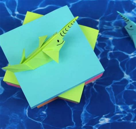 how to make an origami narwhal seaworthy sticky note origami narwhal allfreepapercrafts