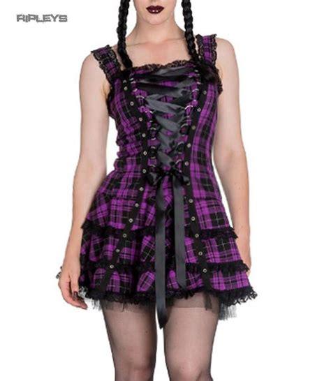 Tartan Mini Dress hell bunny club mini dress harley tartan purple