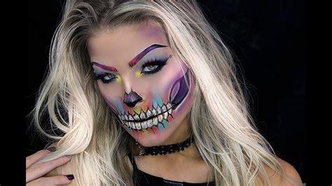 tutorial makeup pac halloween makeup tutorial colorful skull youtube