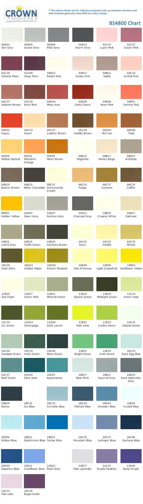 crown paints colour chart