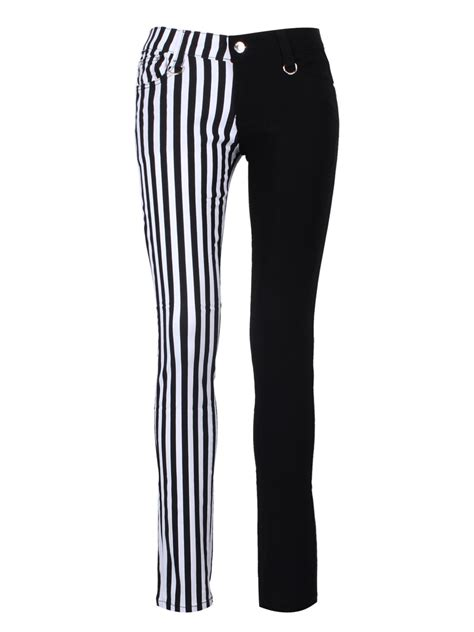 black and white patterned jeans banned half black half white striped skinny jeans buy