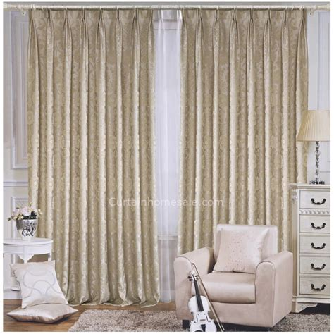Thermal Back Curtains Light Beige Floral Jacquard Living Room Thermal Backed Curtains