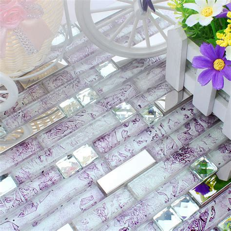 Purple cyrstal glass mixed stainless steel mosaic tiles for dining roo amp diamond wall tiles