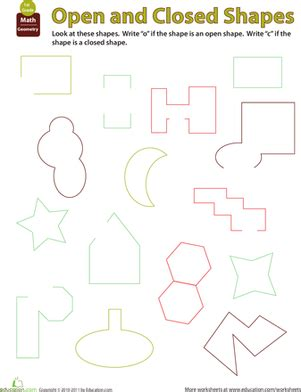 figure open or not looking at shapes open or closed worksheet education