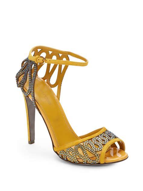 lyst sergio rossi suede rhinestone embellished ankle