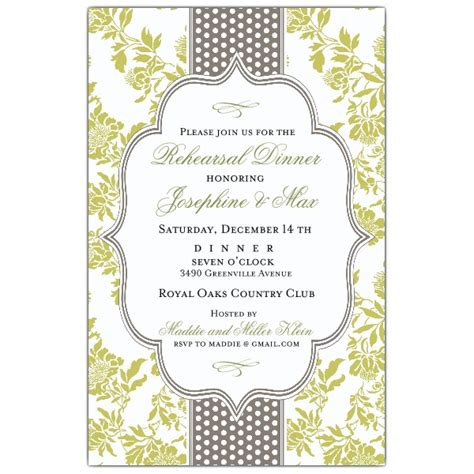 fancy dinner invitations fancy moss gray dot rehearsal dinner invitations paperstyle