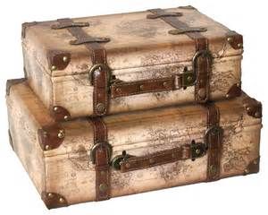 decorative suitcases world map leather vintage style suitcase with straps