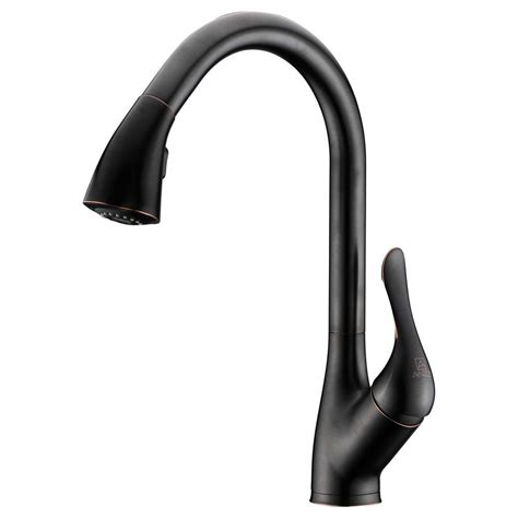 rubbed bronze pull kitchen faucet anzzi accent series single handle pull sprayer kitchen faucet in rubbed bronze kf